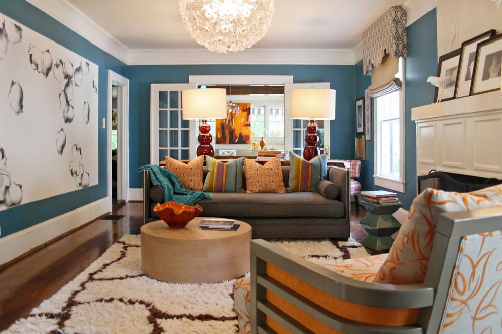 orange and blue living room
