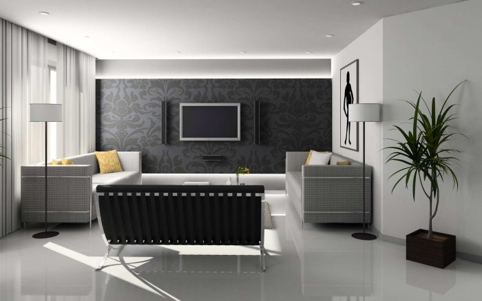 Minimalist living room with a coffee table at the center