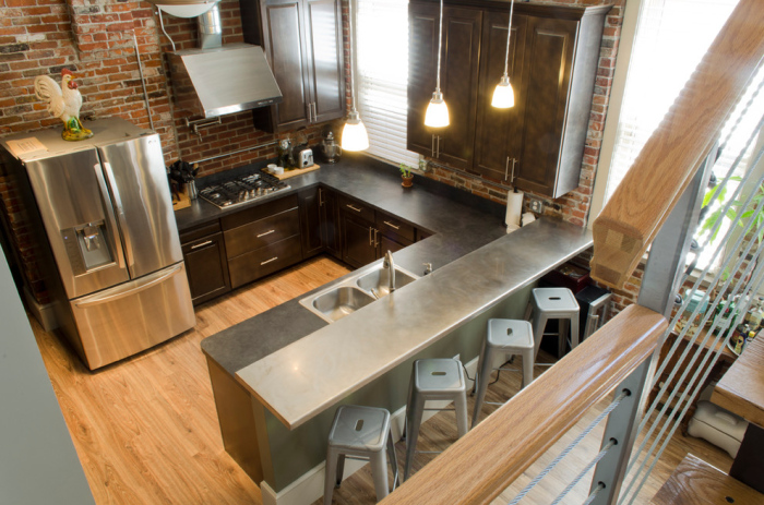 Gray Metal Kitchen Bar Countertop