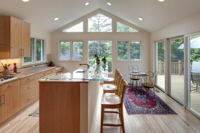 Glass countertop kitchen bar