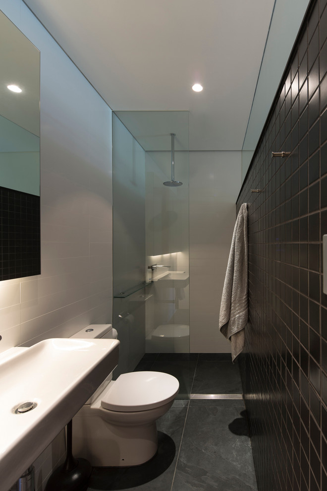 small bathroom in black and white