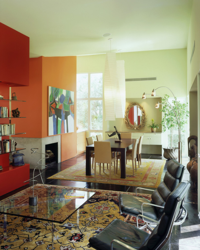 Pale Green And Orange Painted Walls