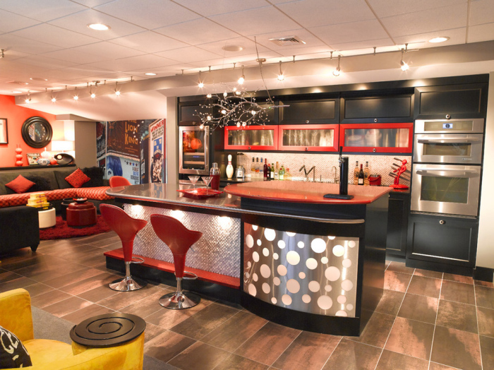 Contemporary Red Kitchen Bar