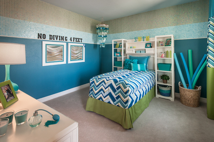 Kid's bedroom with shades of blue and green