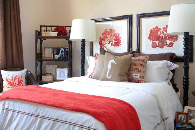 well-organized bedroom with combination of white, brown and red colors