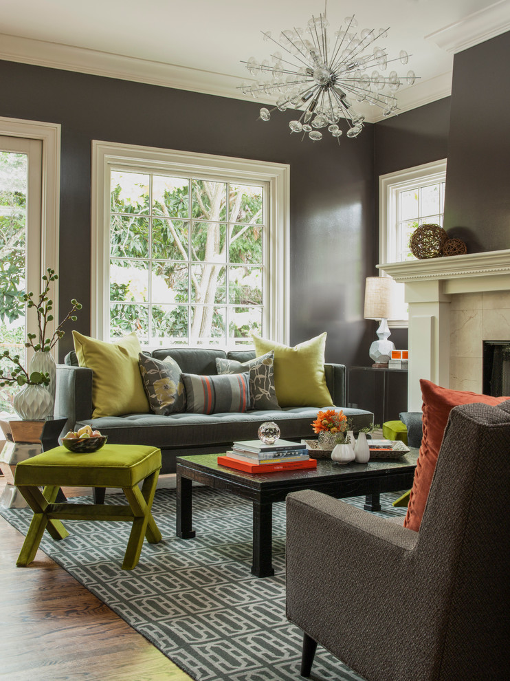 brown and yellow living room
