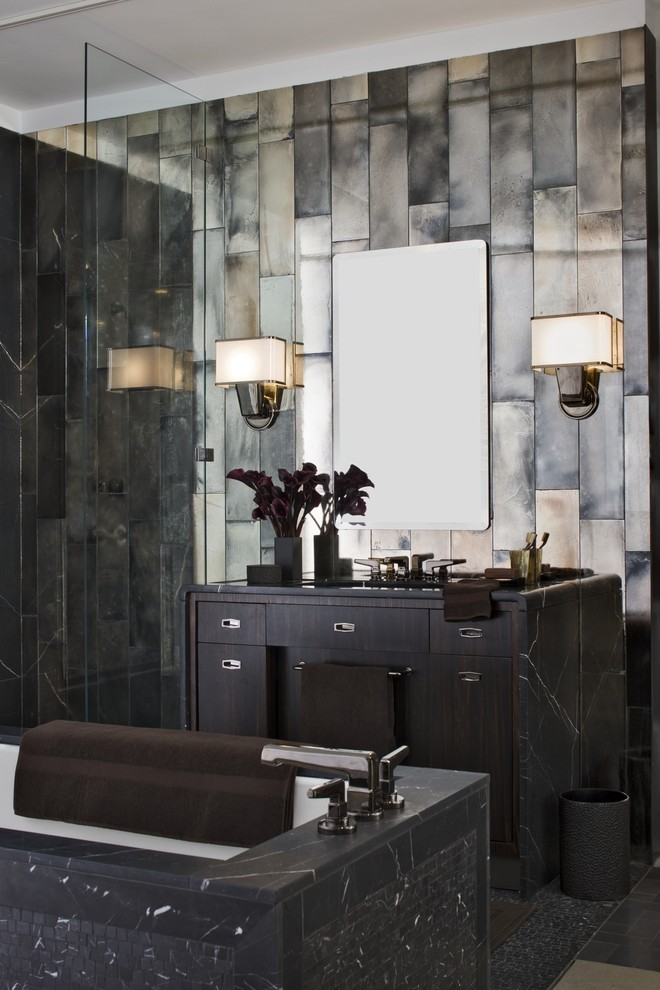 Bathroom with antique mirror tiles