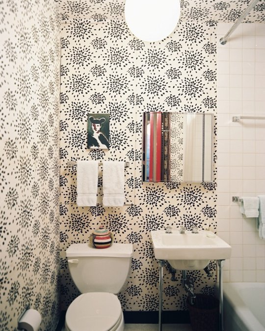 Designs for small bathrooms for Bathroom wallpaper patterns