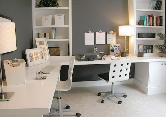 Contemporary home office for two people