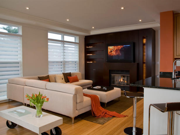 Electric fire blends in with the interior design of the room.