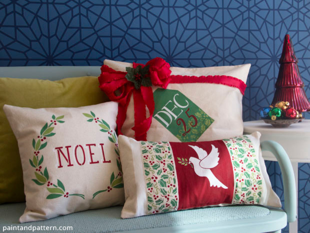 Write your name on the cushion cover or the symbolic bird with the stencil