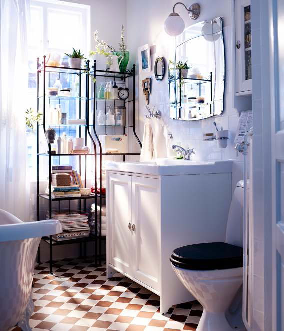 Bathroom with checkered red and white floor tiles