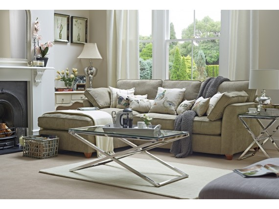 L shaped sofa look is pretty with its beige body