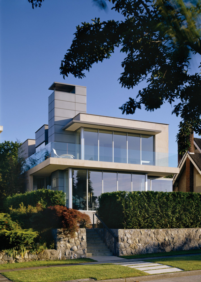 Family house with glass railings