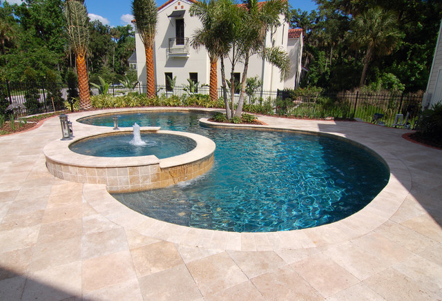 Chic And Calming Travertine Pool Decking