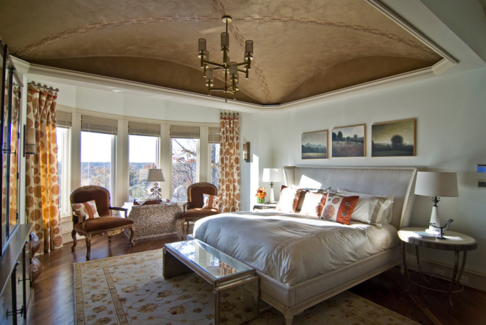 Silver and brown bedroom design
