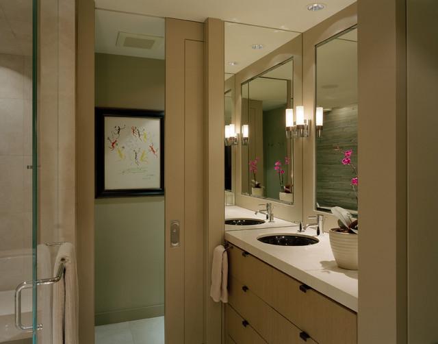 Sleek and polished nude beige sliding door