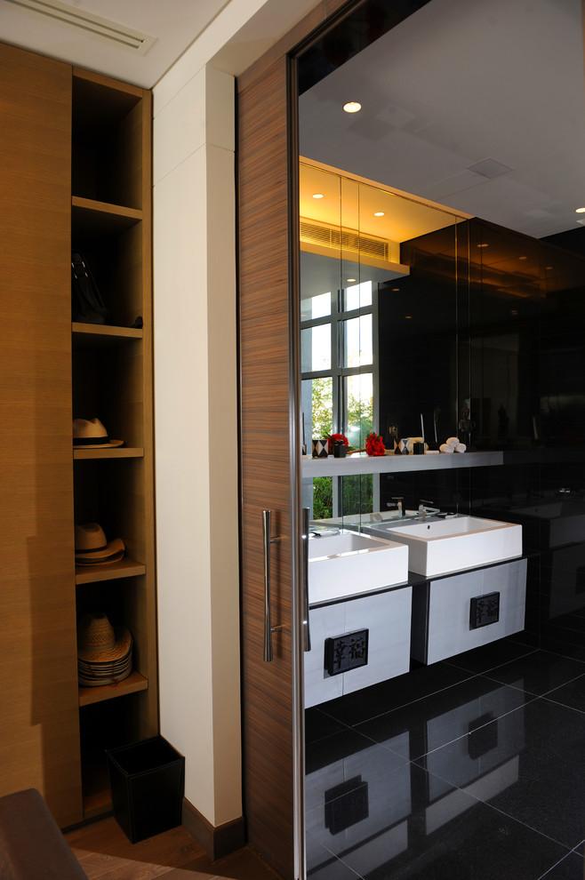 Sleek and stylish dark brown wood door with a narrow slit like opening