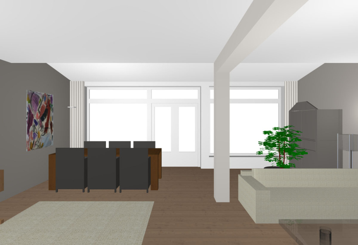 Sliding door structure can be seen in the sketch