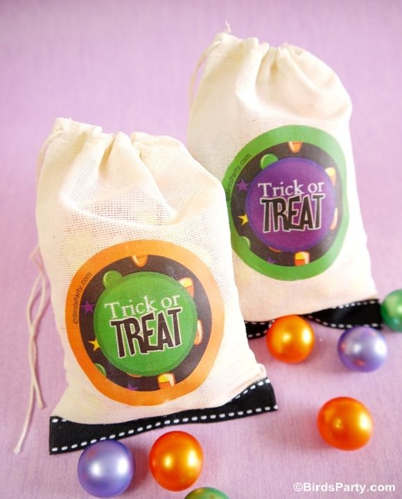 Canvas bags serve as the trick or treat bag
