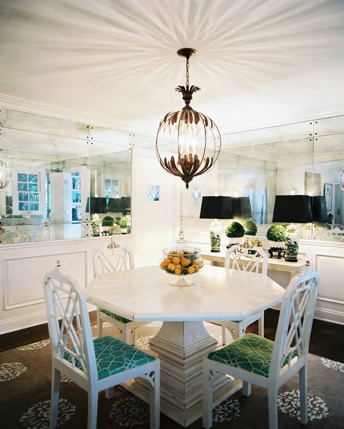Small dining spaces with two antique mirrors