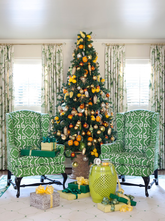 Christmas tree with orange and yellow ornaments
