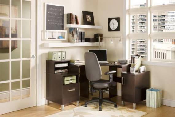 White and grey home office design