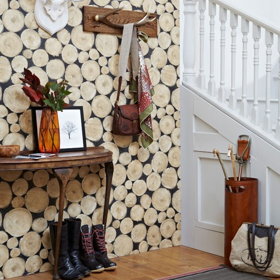 Log cabin wallpaper in hallway