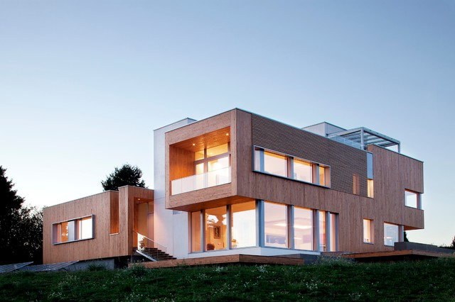 House exterior with wood cladded together