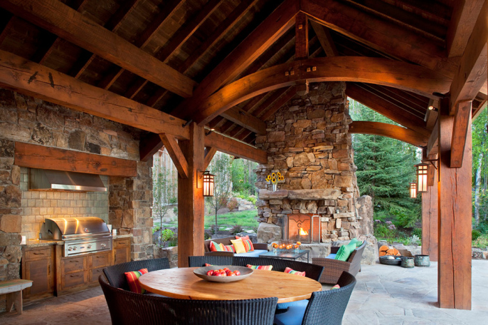 Vertical stone wall with a fireplace