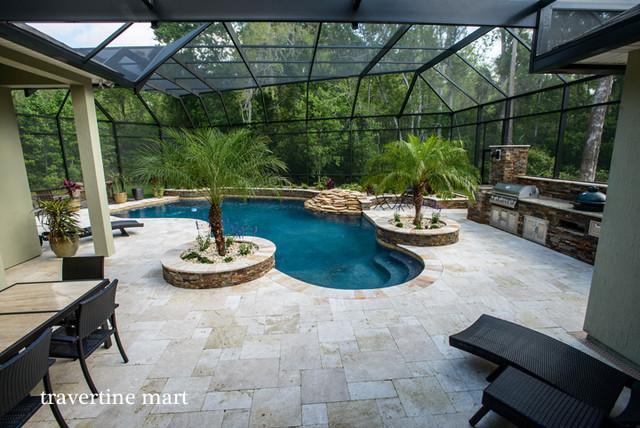Tumbled travertine pool decking