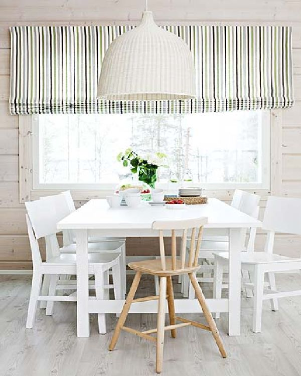 Dining room with wonderful striped window curtain