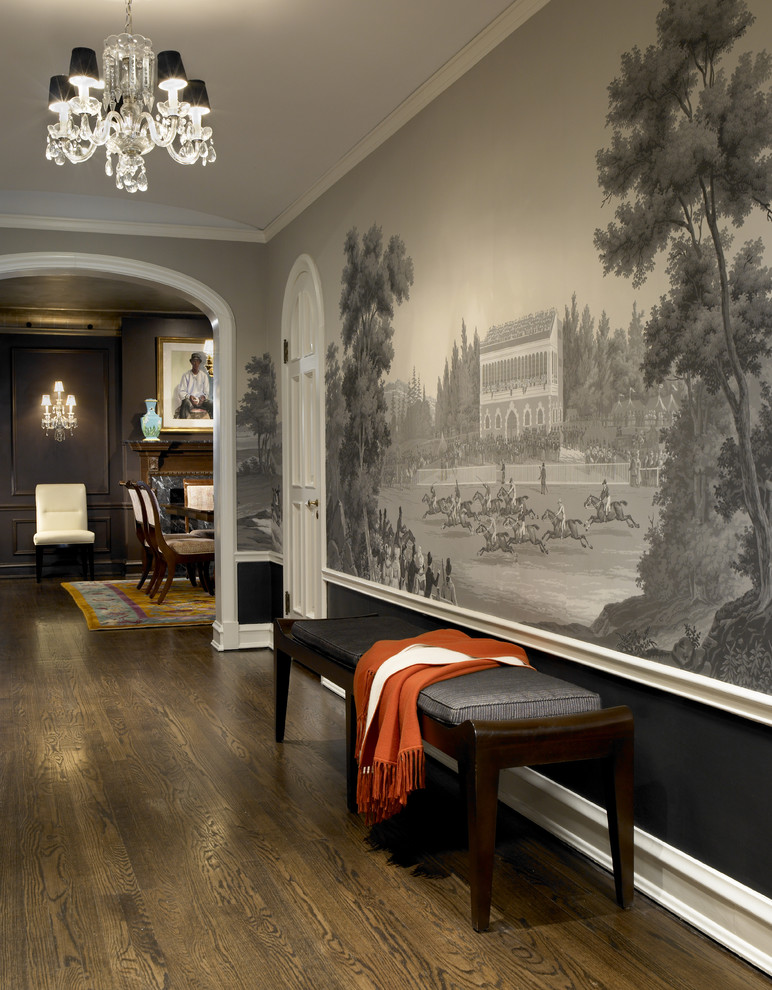 Hall makeover with fabulous wallpaper designs for Black wall mural