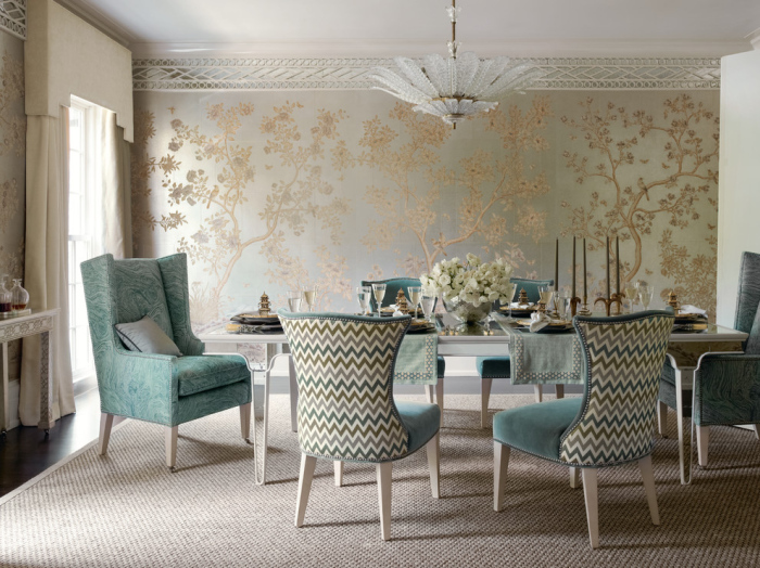 Dining room with comfortable ash blue chairs
