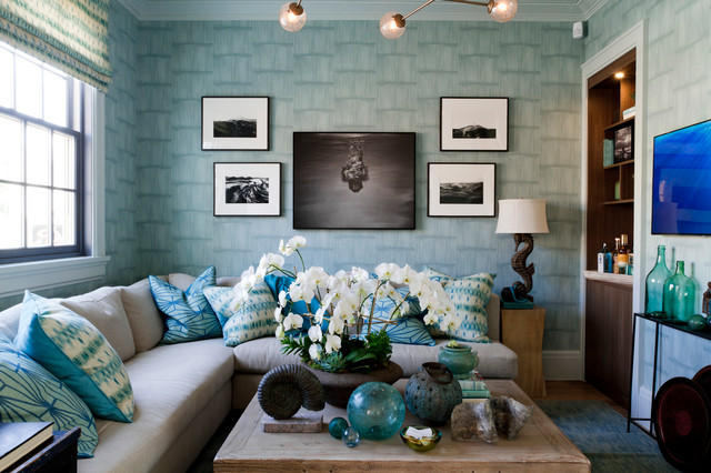 Classy off-white sofa with  blue surrounding