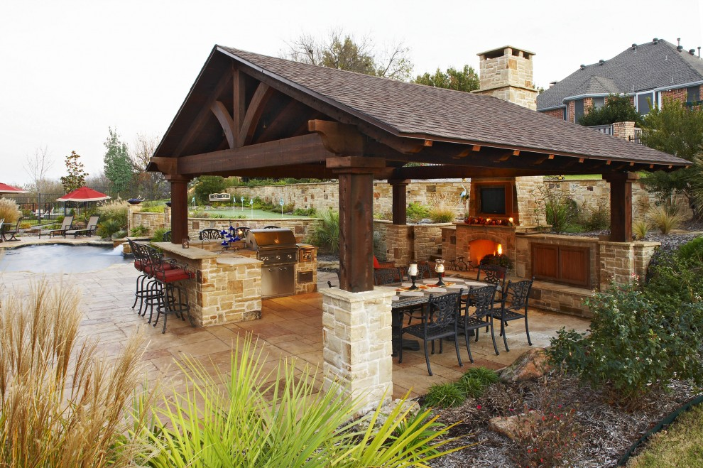 Outdoor kitchens for Covered outdoor kitchen designs