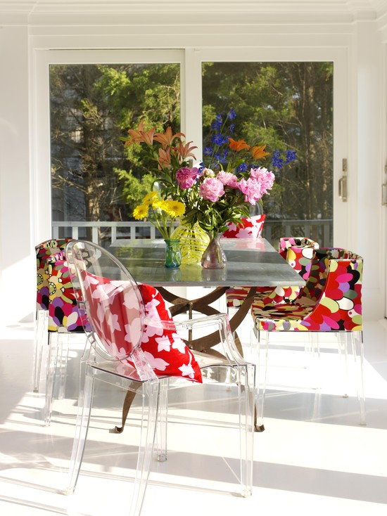 Floral patterned chairs in bright hues