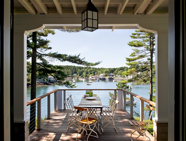 great deck railing design setup overlooking the lake