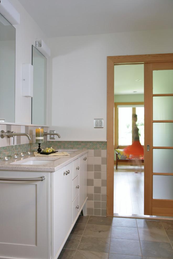 Light wooden panelled door done up in checks