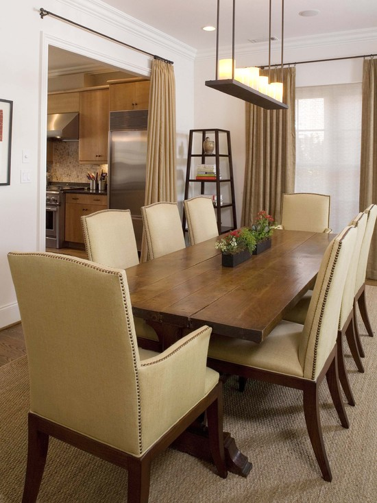 Dining room with a long dining table
