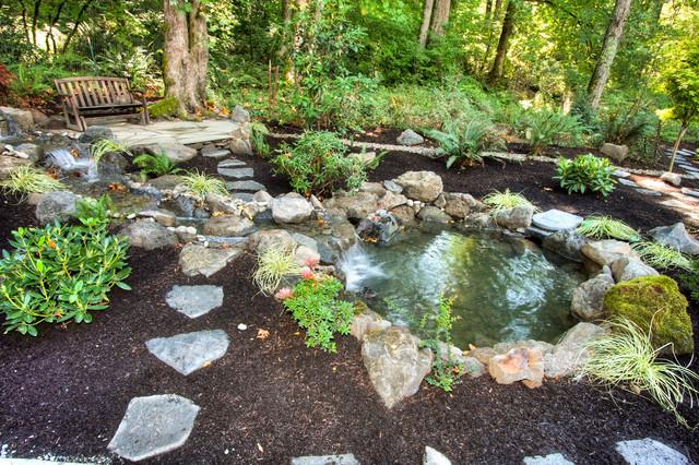 Water gardens design ideas for Round garden pond designs