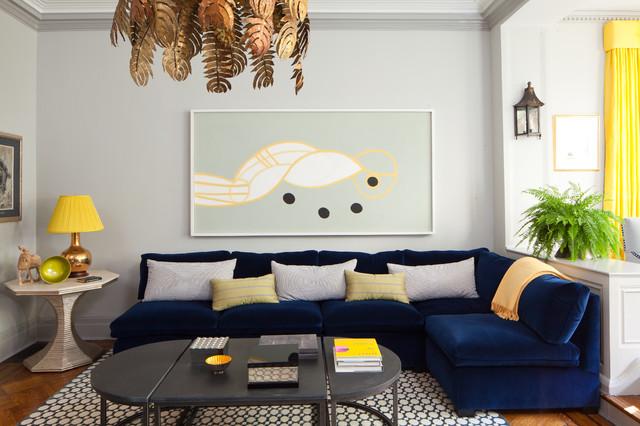 Comfortable L-velvet sofa