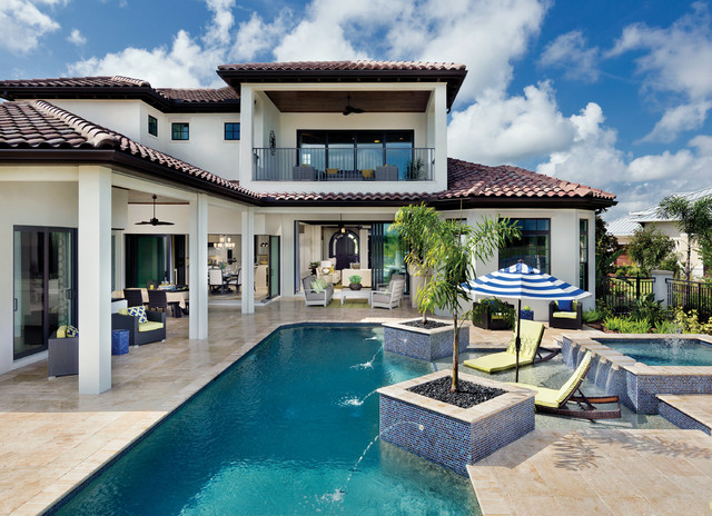 Well designed backyard area with a swimming pool
