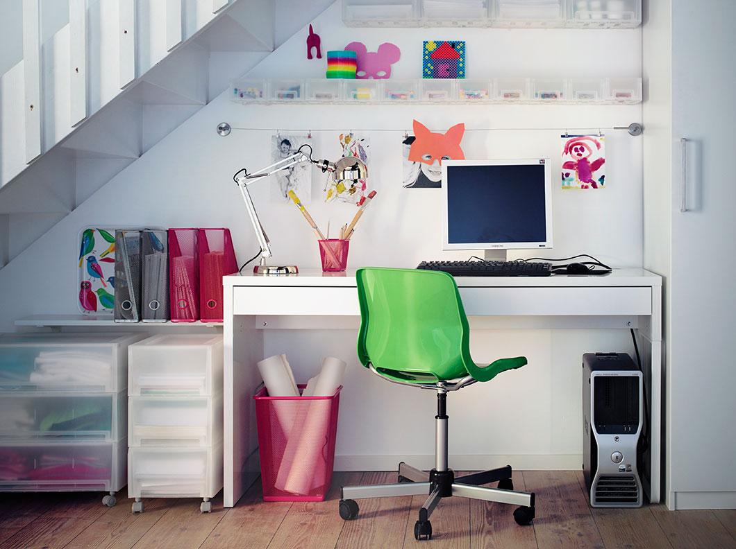 Colourful home office decor