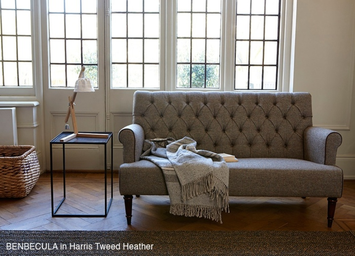 Tufted sofa support assures a non-nonsense look