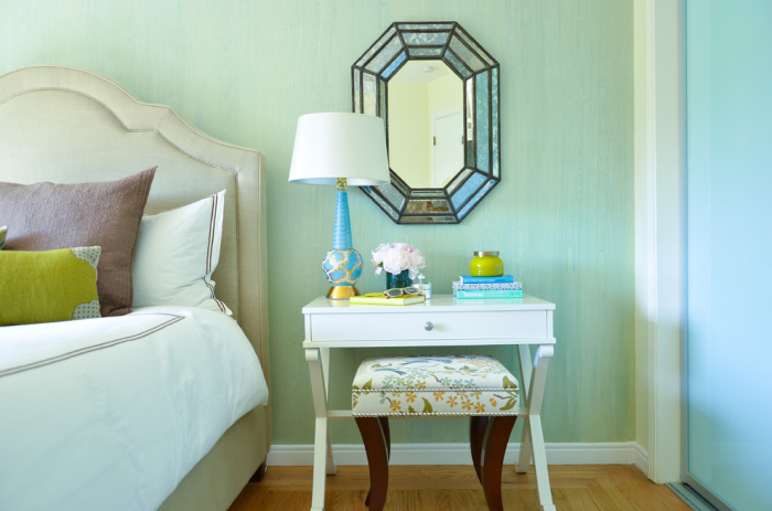 Master bedroom with a vintage turquoise lamp
