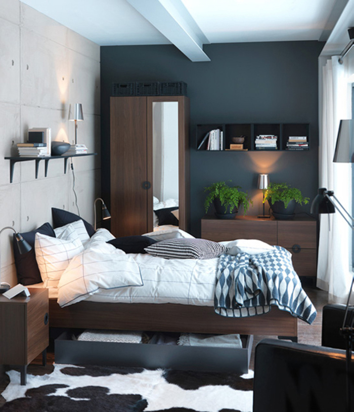 Bedroom with beautiful dark brown cabinets