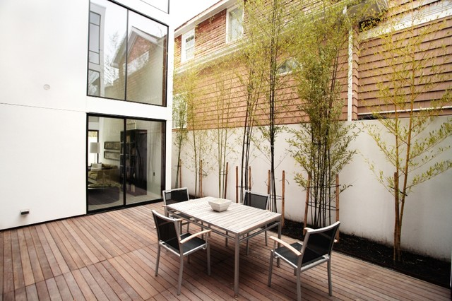 Wooden deck with cut lines