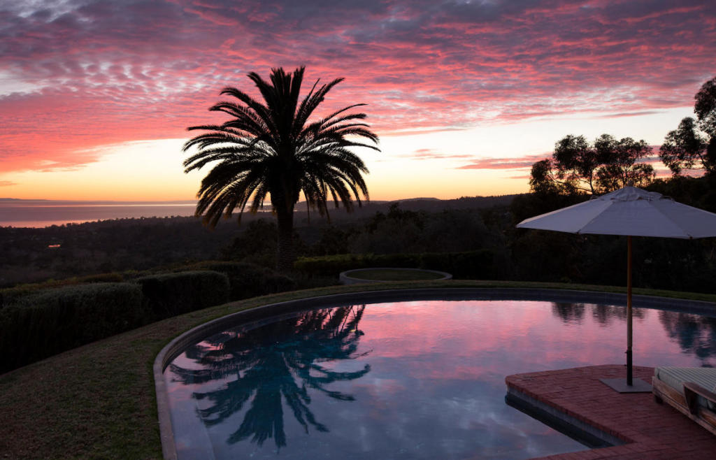 Pool with skyline views