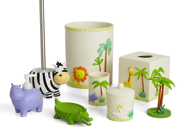 Girl kids bathroom accessories for Animal themed bathroom decor